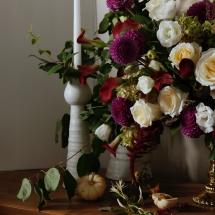 Dahlias, Roses, Amaranthus and Cala lilies
